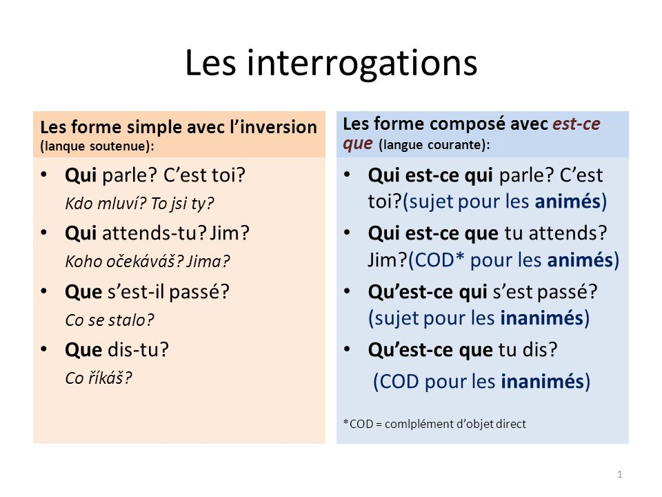 Les interrogations Les forme simple avec l'inversion (lanque soutenue): Qui parle.