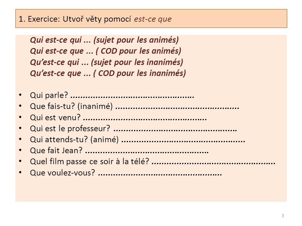 1. Exercice: Utvoř věty pomocí est-ce que Qui est-ce qui... (sujet pour les animés) Qui est-ce que... ( COD pour les animés) Qu'est-ce qui... (sujet p