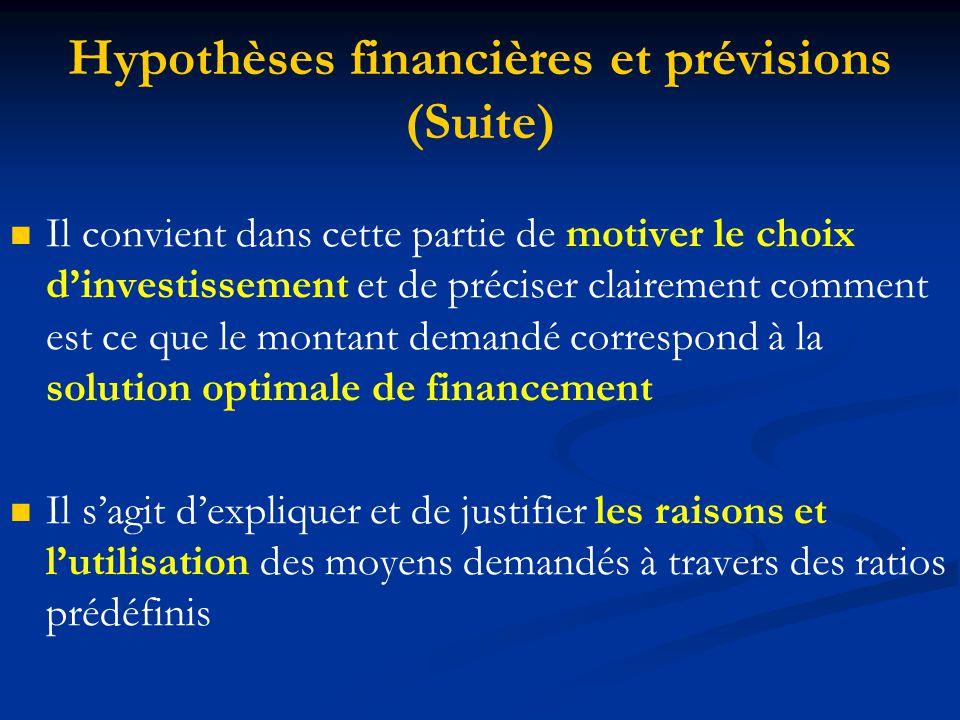 Hypothèses financières et prévisions (Suite) Il convient dans cette partie de motiver le choix d'investissement et de préciser clairement comment est