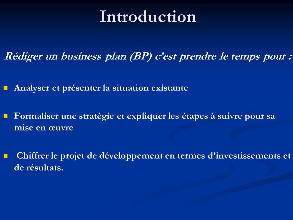 Introduction Rédiger un business plan (BP) c'est prendre le temps pour : Analyser et présenter la situation existante Formaliser une stratégie et expliquer les étapes à suivre pour sa mise en œuvre Chiffrer le projet de développement en termes d'investissements et de résultats.