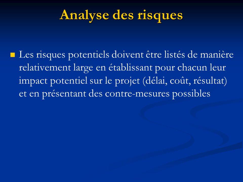 Analyse des risques Les risques potentiels doivent être listés de manière relativement large en établissant pour chacun leur impact potentiel sur le p