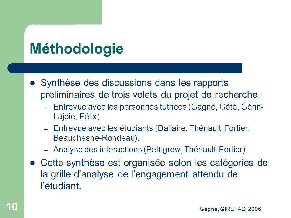 Gagné, GIREFAD, 2006 10 Méthodologie Synthèse des discussions dans les rapports préliminaires de trois volets du projet de recherche.