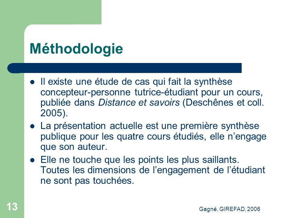 Gagné, GIREFAD, 2006 13 Méthodologie Il existe une étude de cas qui fait la synthèse concepteur-personne tutrice-étudiant pour un cours, publiée dans Distance et savoirs (Deschênes et coll.