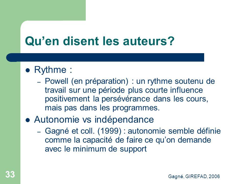Gagné, GIREFAD, 2006 33 Qu'en disent les auteurs.