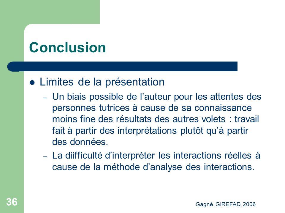 Gagné, GIREFAD, 2006 36 Conclusion Limites de la présentation – Un biais possible de l'auteur pour les attentes des personnes tutrices à cause de sa connaissance moins fine des résultats des autres volets : travail fait à partir des interprétations plutôt qu'à partir des données.