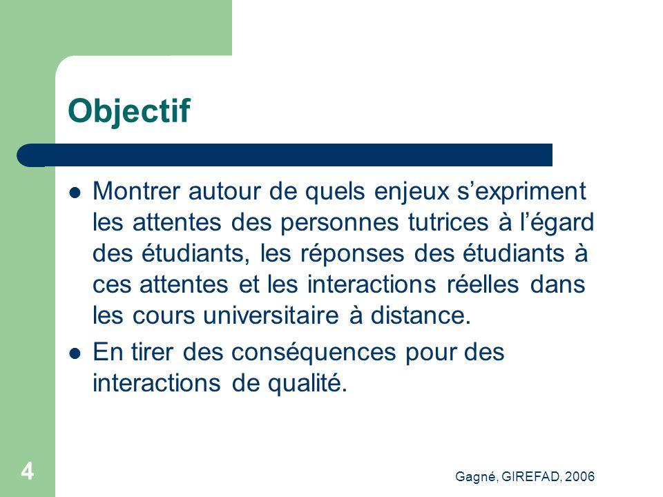Gagné, GIREFAD, 2006 15 Points saillants Engagement Cognitif Administratif Méthodologique...