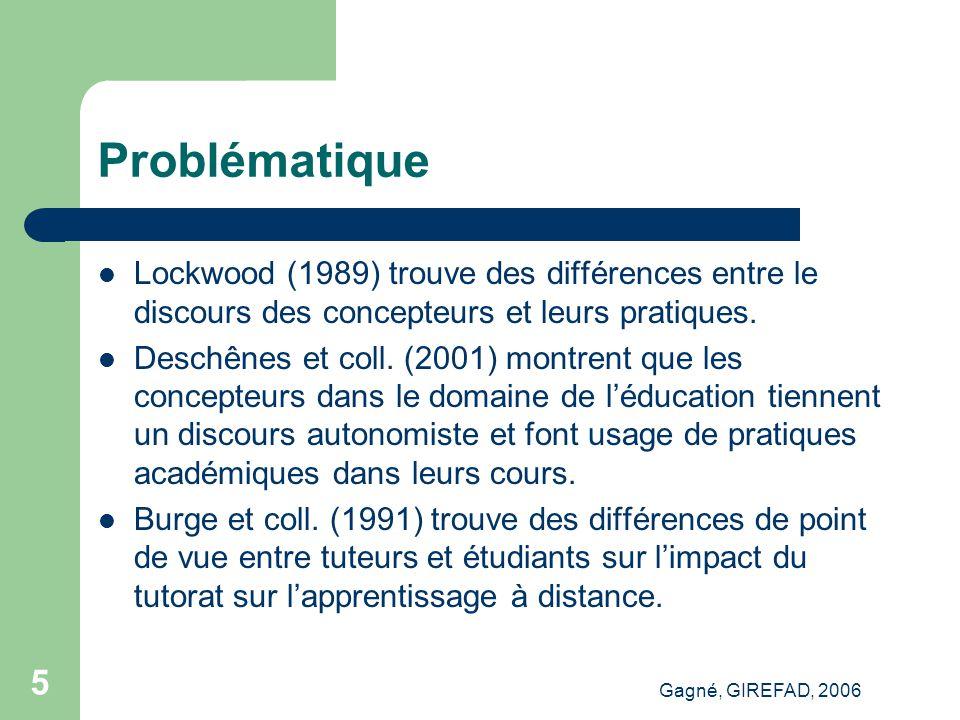 Gagné, GIREFAD, 2006 6 Problématique Glickman (1999) montre que l'offre de formation procède selon une logique différente de la demande de formation, surtout dans l'utilisation des technologies.