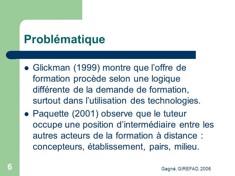 Gagné, GIREFAD, 2006 7 Problématique Ces constats et hypothèses montrent que pour comprendre l'apprentissage à distance il faut s'intéresser aux trois acteurs principaux de la situation d'apprentissage à distance : concepteurs, personnes tutrices et étudiants (cf.