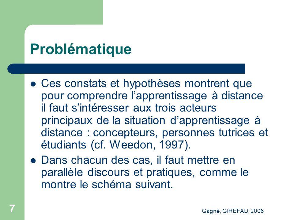 Gagné, GIREFAD, 2006 18 Points saillants Engagement Cognitif Administratif Méthodologique...