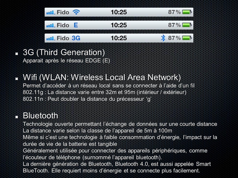 3G (Third Generation) Apparait après le réseau EDGE (E) Wifi (WLAN: Wireless Local Area Network) Permet d'accéder à un réseau local sans se connecter