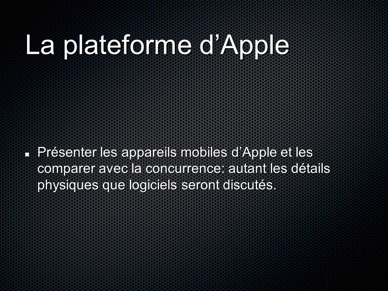 La plateforme d'Apple Présenter les appareils mobiles d'Apple et les comparer avec la concurrence: autant les détails physiques que logiciels seront d