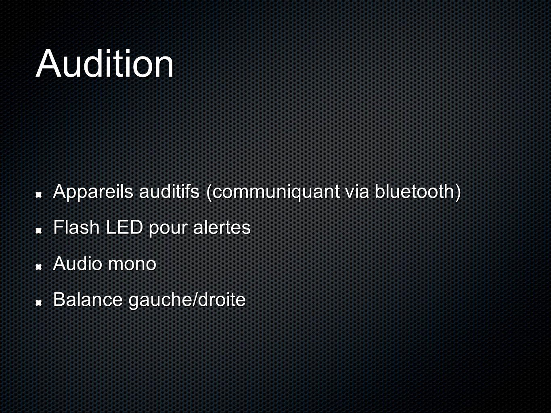 Audition Appareils auditifs (communiquant via bluetooth) Flash LED pour alertes Audio mono Balance gauche/droite