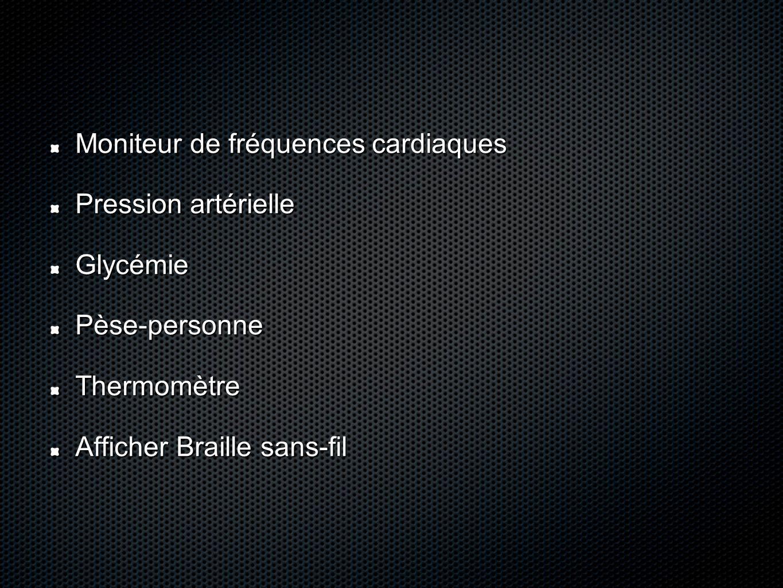 Moniteur de fréquences cardiaques Pression artérielle GlycémiePèse-personneThermomètre Afficher Braille sans-fil