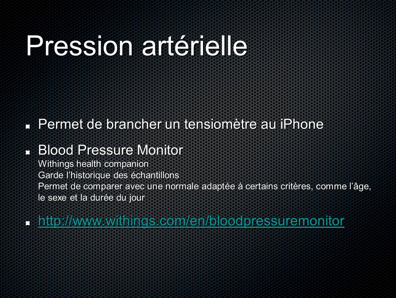Pression artérielle Permet de brancher un tensiomètre au iPhone Blood Pressure Monitor Withings health companion Garde l'historique des échantillons P