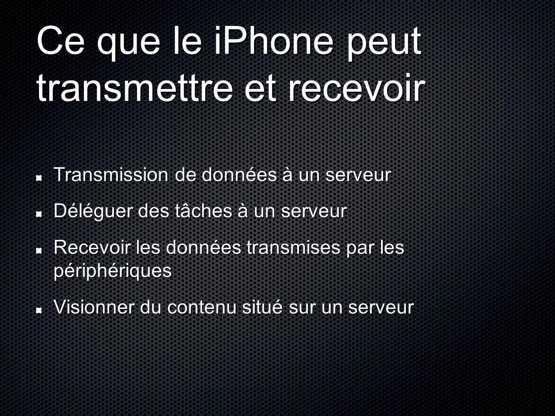 Ce que le iPhone peut transmettre et recevoir Transmission de données à un serveur Déléguer des tâches à un serveur Recevoir les données transmises pa