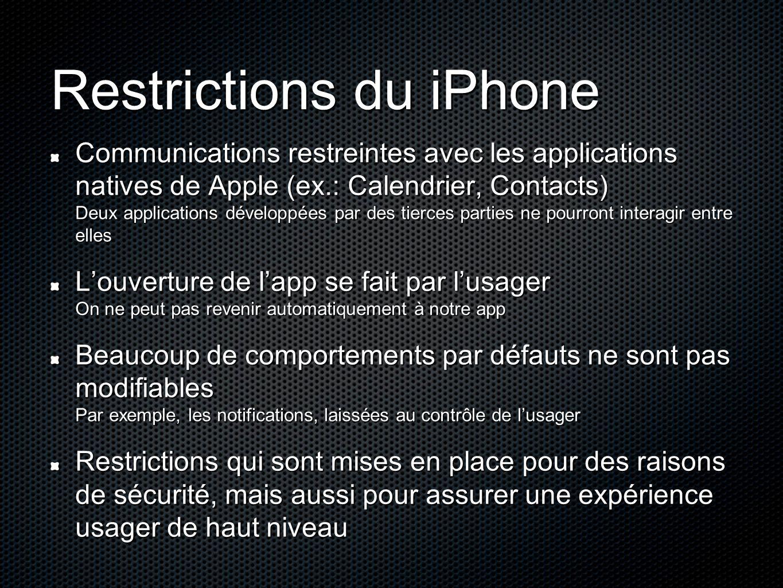 Restrictions du iPhone Communications restreintes avec les applications natives de Apple (ex.: Calendrier, Contacts) Deux applications développées par