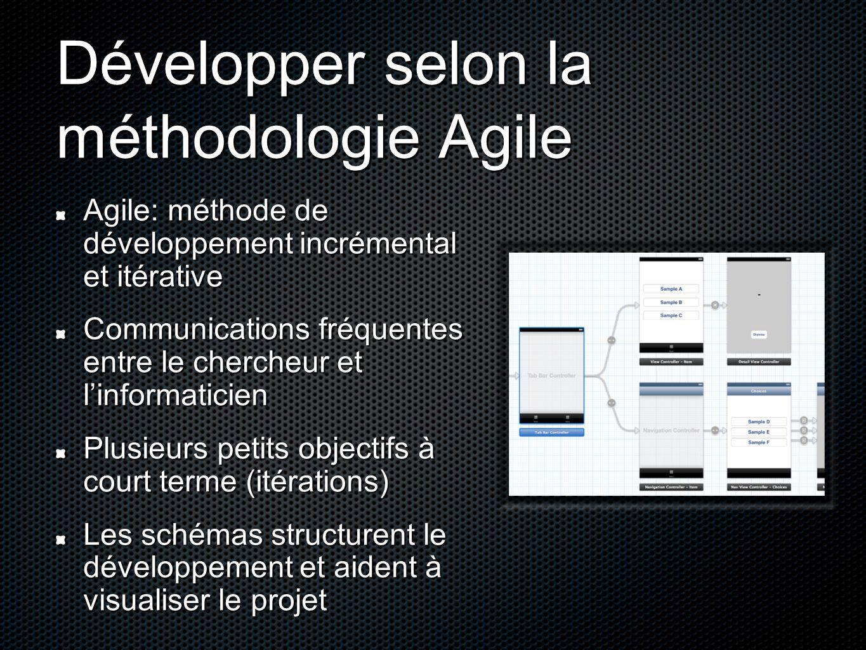 Développer selon la méthodologie Agile Agile: méthode de développement incrémental et itérative Communications fréquentes entre le chercheur et l'info