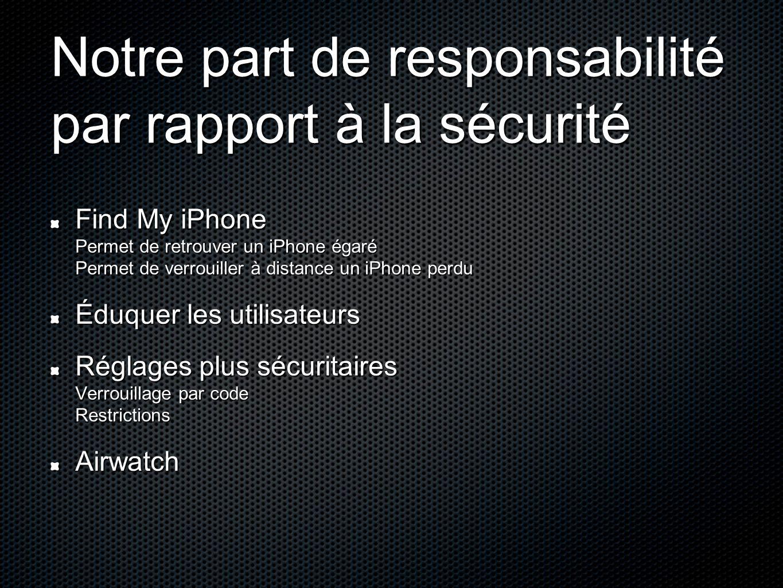 Notre part de responsabilité par rapport à la sécurité Find My iPhone Permet de retrouver un iPhone égaré Permet de verrouiller à distance un iPhone p