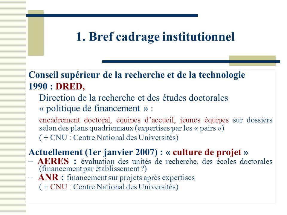 1. Bref cadrage institutionnel Conseil supérieur de la recherche et de la technologie 1990 : DRED, Direction de la recherche et des études doctorales