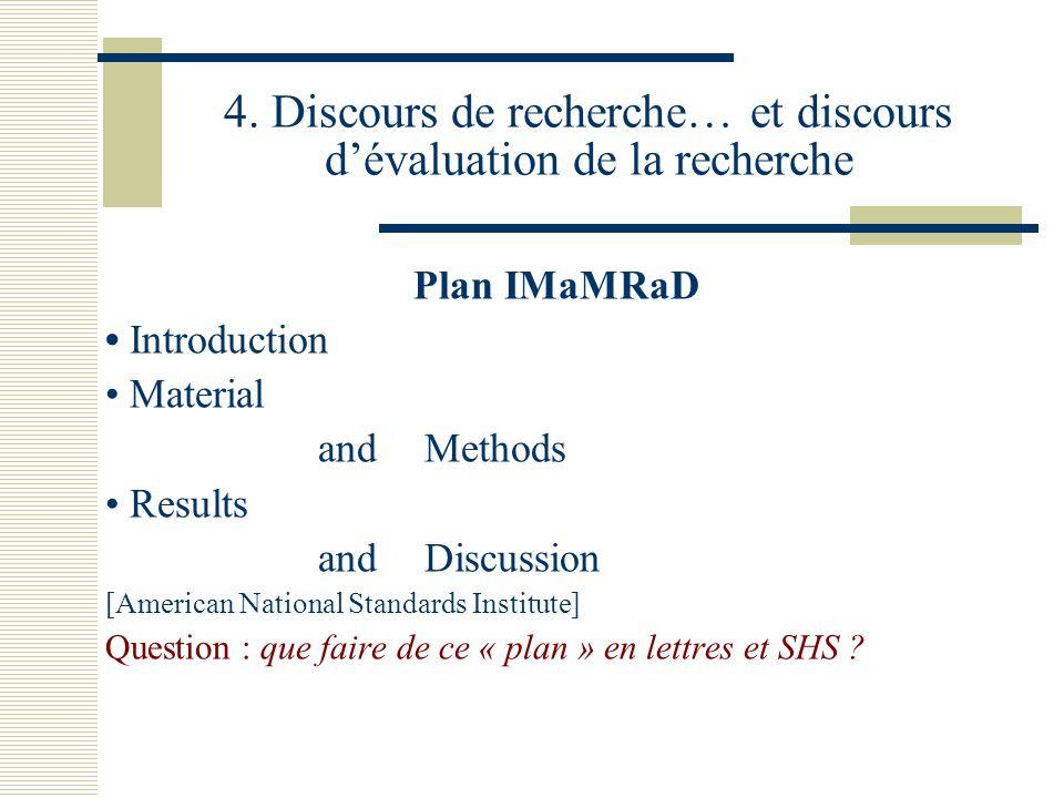 4. Discours de recherche… et discours d'évaluation de la recherche Plan IMaMRaD Introduction Material and Methods Results and Discussion [American Nat