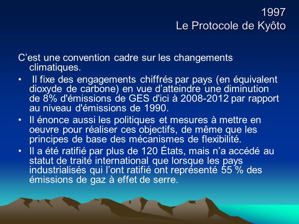 1997 Le Protocole de Kyôto C'est une convention cadre sur les changements climatiques. Il fixe des engagements chiffrés par pays (en équivalent dioxyd