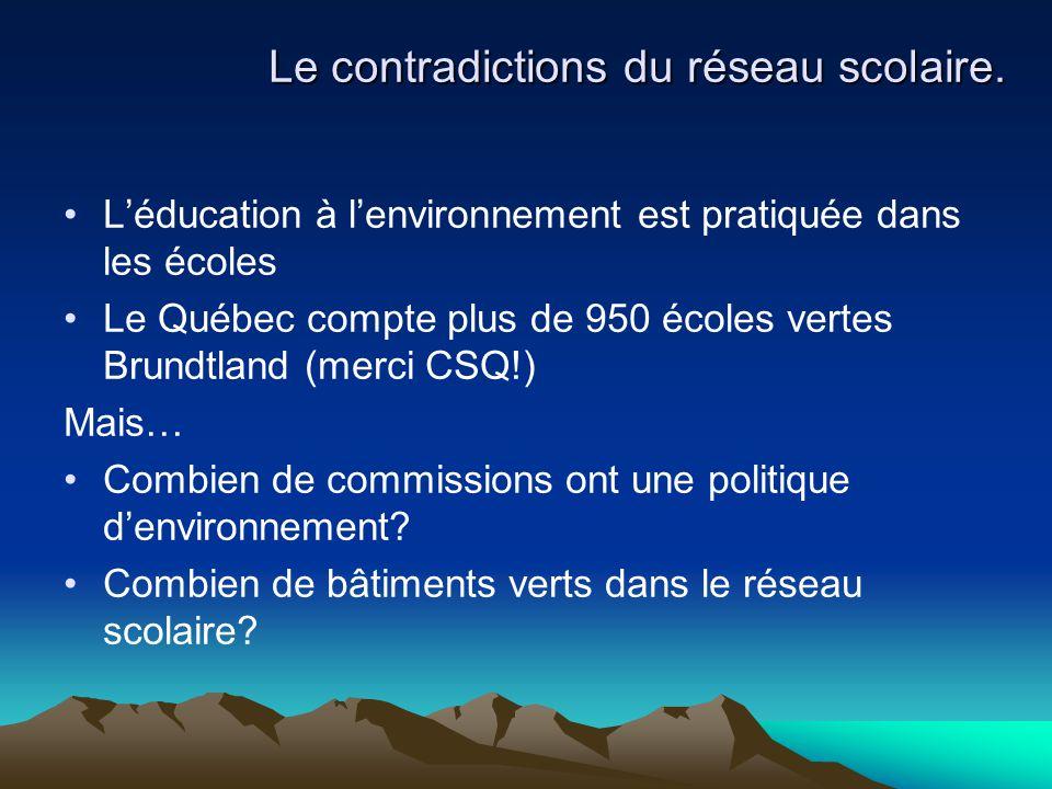 Le contradictions du réseau scolaire. L'éducation à l'environnement est pratiquée dans les écoles Le Québec compte plus de 950 écoles vertes Brundtlan
