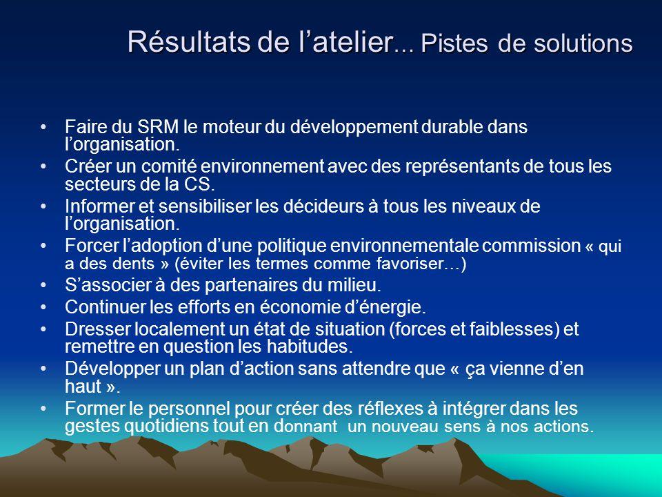 Résultats de l'atelier … Pistes de solutions Faire du SRM le moteur du développement durable dans l'organisation. Créer un comité environnement avec d