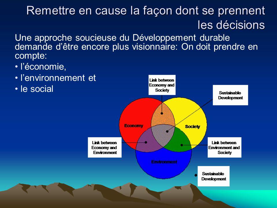 Une approche soucieuse du Développement durable demande d'être encore plus visionnaire: On doit prendre en compte: l'économie, l'environnement et le s
