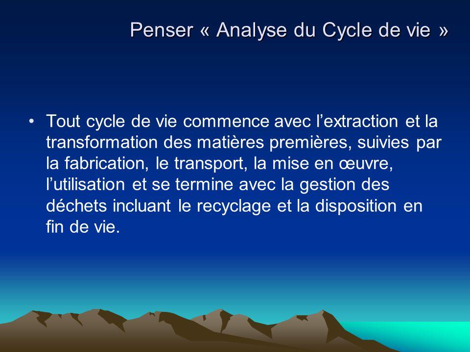 Tout cycle de vie commence avec l'extraction et la transformation des matières premières, suivies par la fabrication, le transport, la mise en œuvre,
