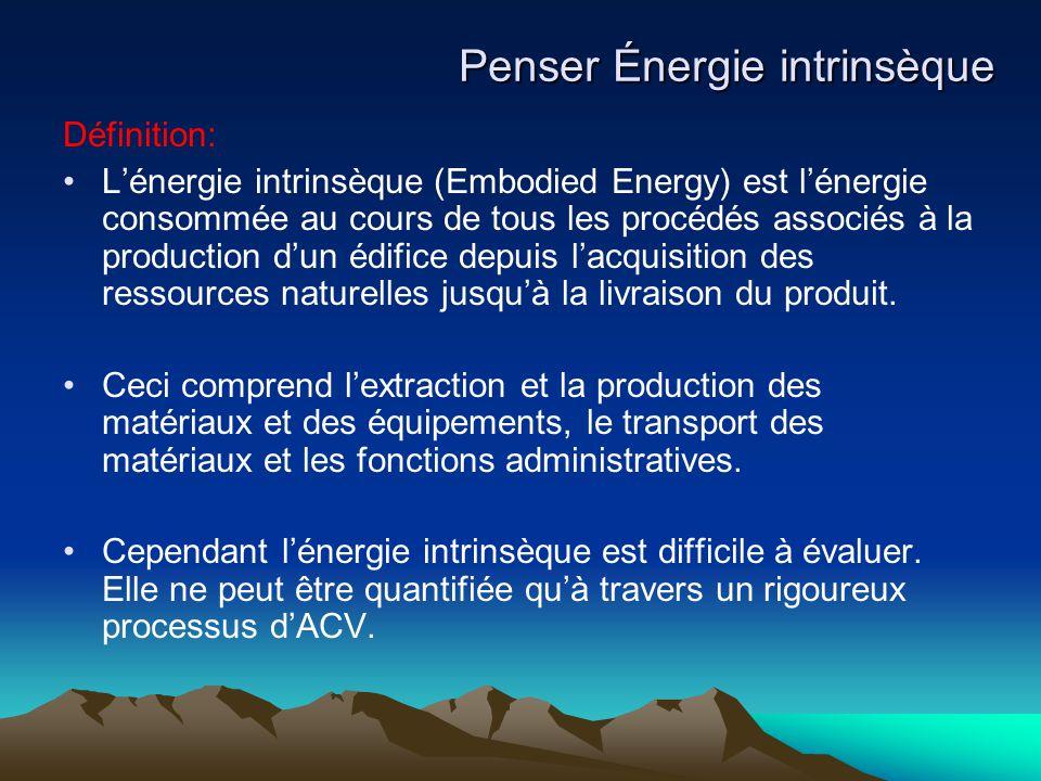 Définition: L'énergie intrinsèque (Embodied Energy) est l'énergie consommée au cours de tous les procédés associés à la production d'un édifice depuis