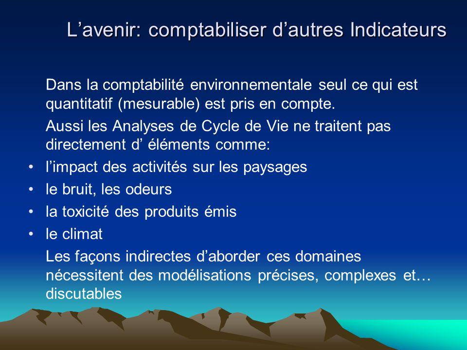 Dans la comptabilité environnementale seul ce qui est quantitatif (mesurable) est pris en compte. Aussi les Analyses de Cycle de Vie ne traitent pas d