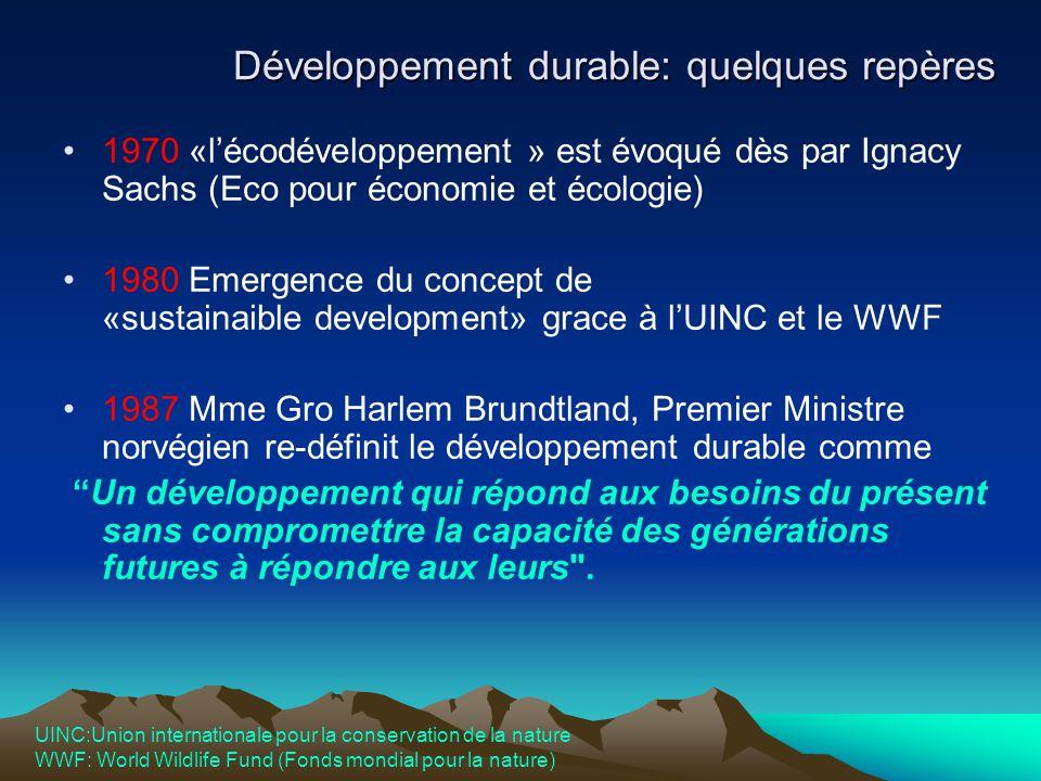Développement durable: quelques repères 1970 «l'écodéveloppement » est évoqué dès par Ignacy Sachs (Eco pour économie et écologie) 1980 Emergence du c