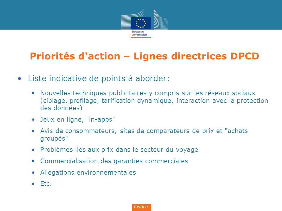 Priorités d'action – Lignes directrices DPCD Liste indicative de points à aborder: Nouvelles techniques publicitaires y compris sur les réseaux sociau