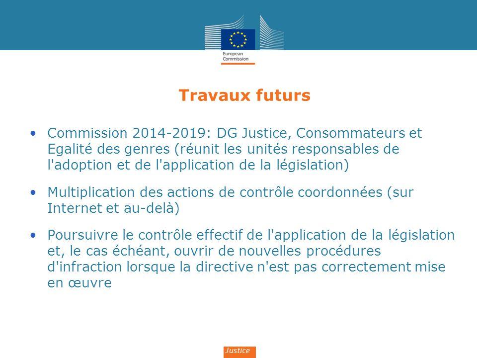 Travaux futurs Commission 2014-2019: DG Justice, Consommateurs et Egalité des genres (réunit les unités responsables de l'adoption et de l'application
