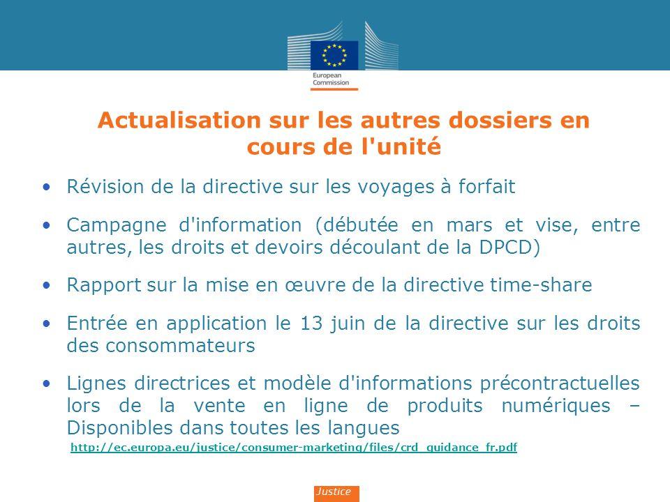 Actualisation sur les autres dossiers en cours de l'unité Révision de la directive sur les voyages à forfait Campagne d'information (débutée en mars e