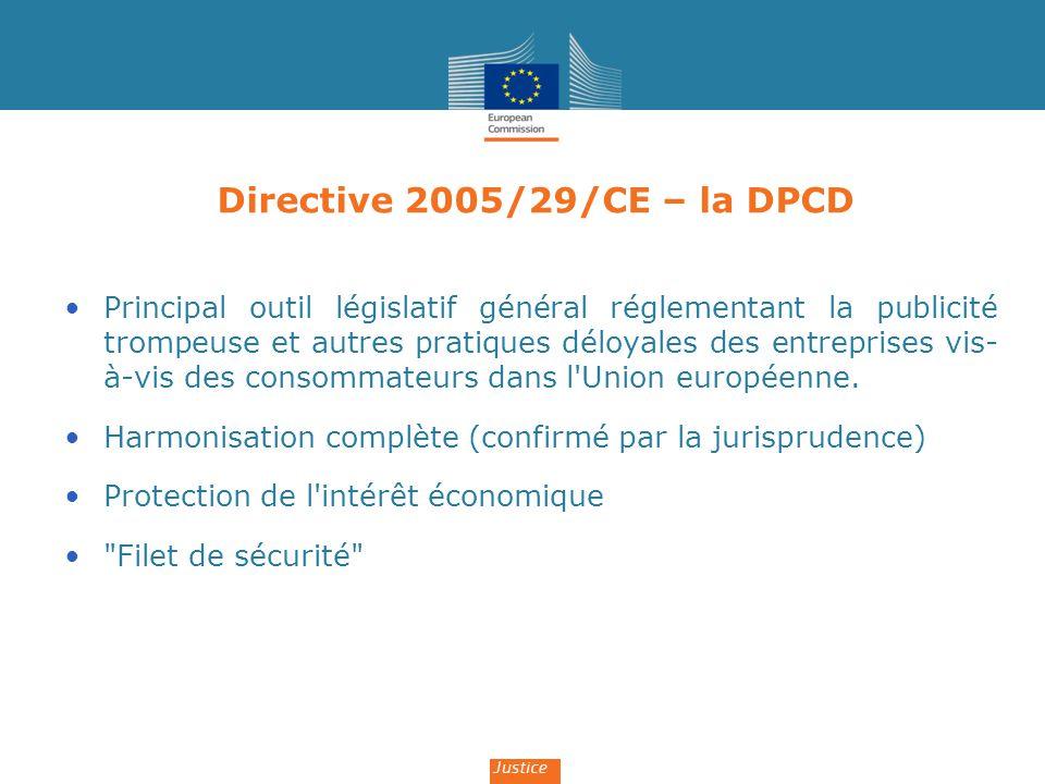 Directive 2005/29/CE – la DPCD Principal outil législatif général réglementant la publicité trompeuse et autres pratiques déloyales des entreprises vi