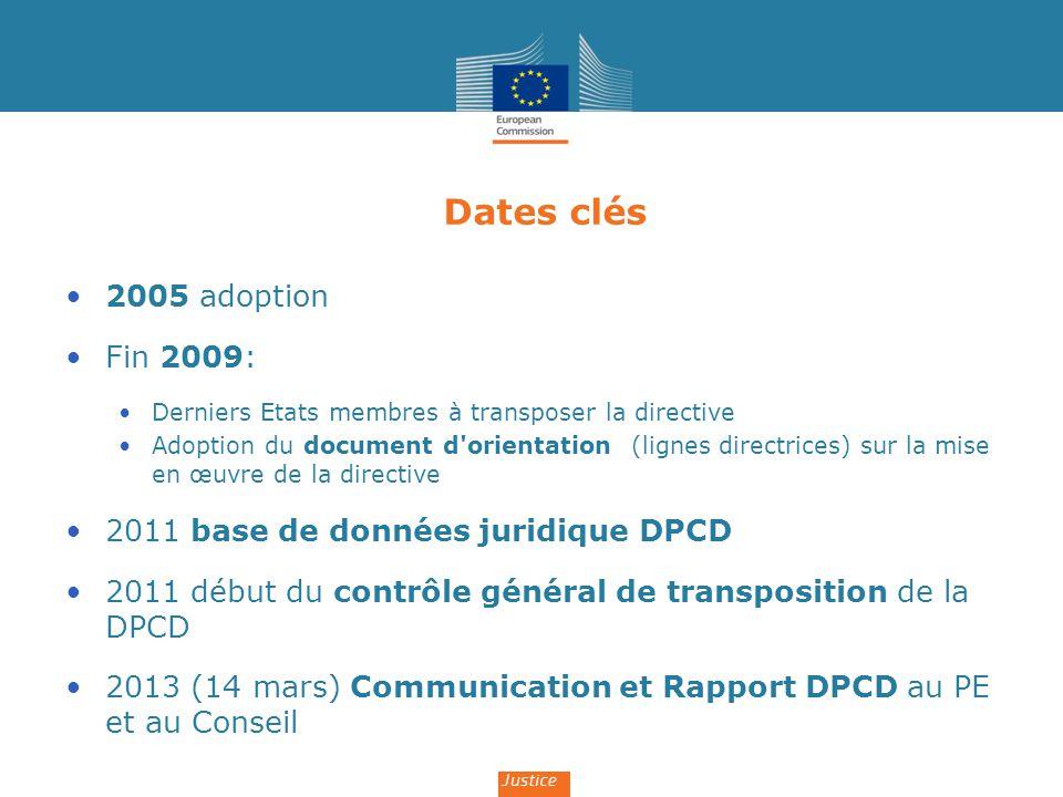 Dates clés 2005 adoption Fin 2009: Derniers Etats membres à transposer la directive Adoption du document d'orientation (lignes directrices) sur la mis