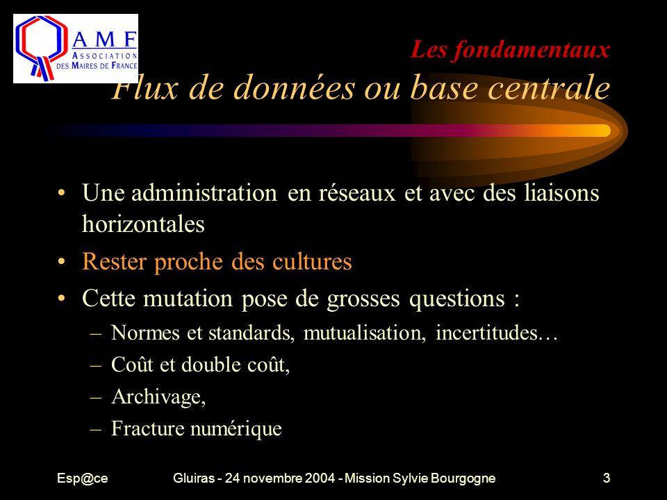 Esp@ceGluiras - 24 novembre 2004 - Mission Sylvie Bourgogne3 Les fondamentaux Flux de données ou base centrale Une administration en réseaux et avec d