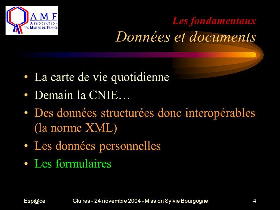 Esp@ceGluiras - 24 novembre 2004 - Mission Sylvie Bourgogne4 Les fondamentaux Données et documents La carte de vie quotidienne Demain la CNIE… Des don
