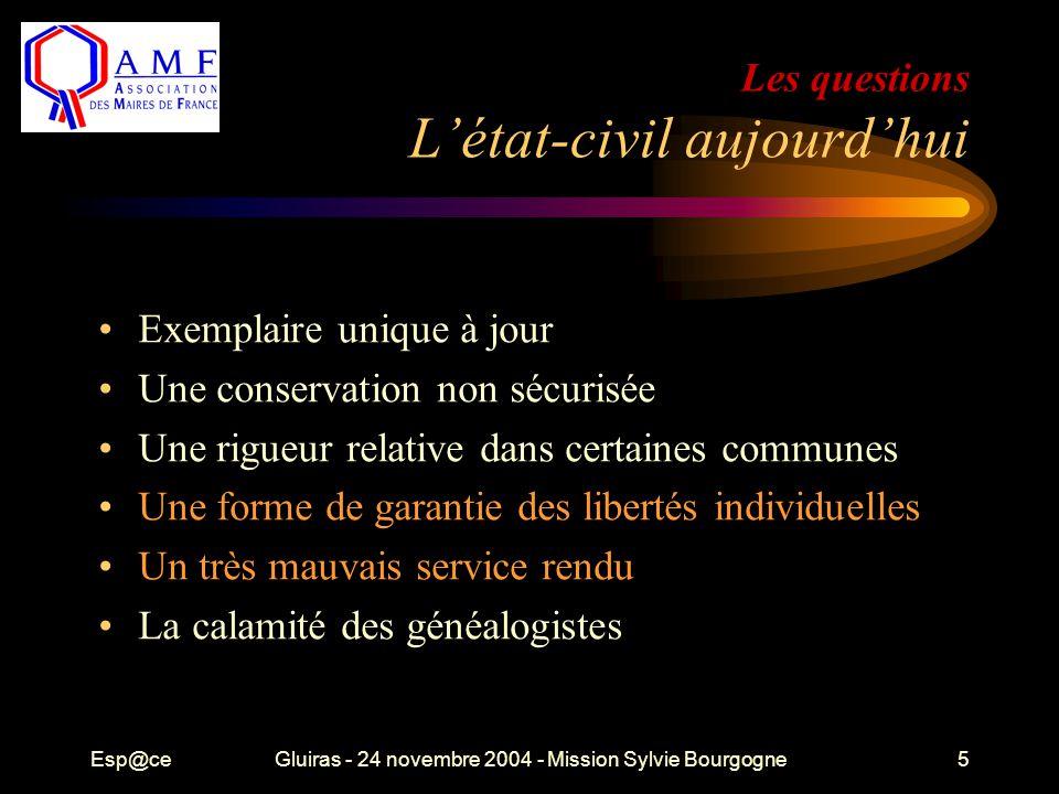 Esp@ceGluiras - 24 novembre 2004 - Mission Sylvie Bourgogne5 Les questions L'état-civil aujourd'hui Exemplaire unique à jour Une conservation non sécu