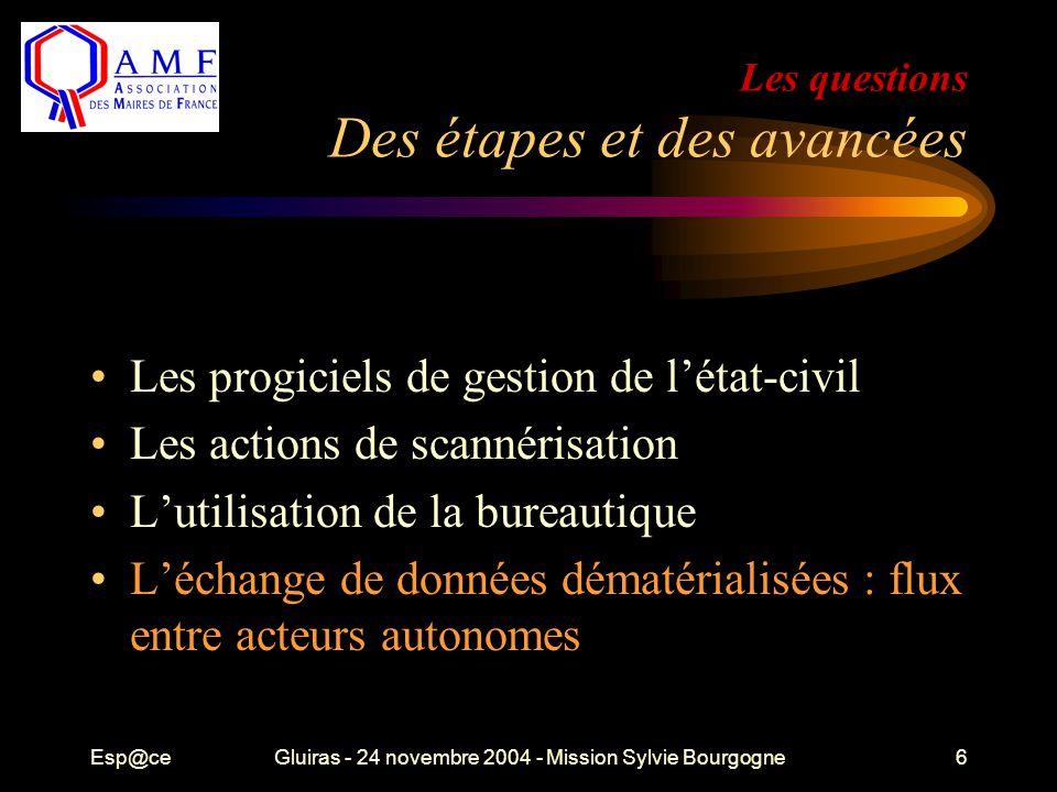 Esp@ceGluiras - 24 novembre 2004 - Mission Sylvie Bourgogne6 Les questions Des étapes et des avancées Les progiciels de gestion de l'état-civil Les actions de scannérisation L'utilisation de la bureautique L'échange de données dématérialisées : flux entre acteurs autonomes