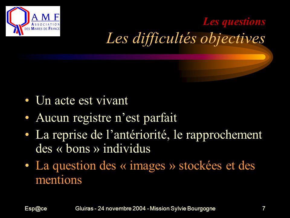 Esp@ceGluiras - 24 novembre 2004 - Mission Sylvie Bourgogne7 Les questions Les difficultés objectives Un acte est vivant Aucun registre n'est parfait