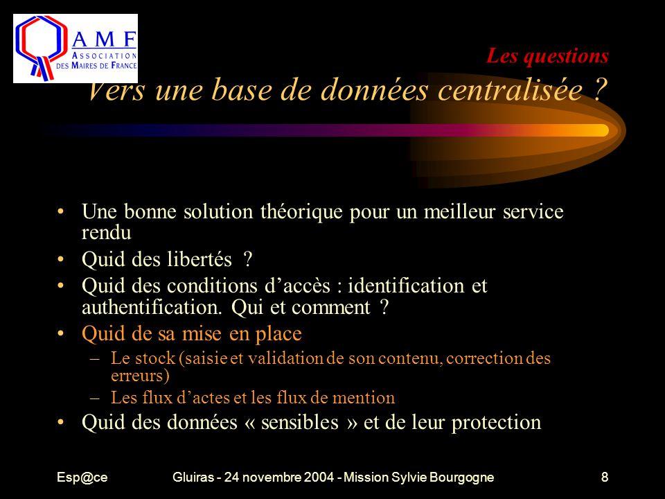 Esp@ceGluiras - 24 novembre 2004 - Mission Sylvie Bourgogne8 Les questions Vers une base de données centralisée ? Une bonne solution théorique pour un