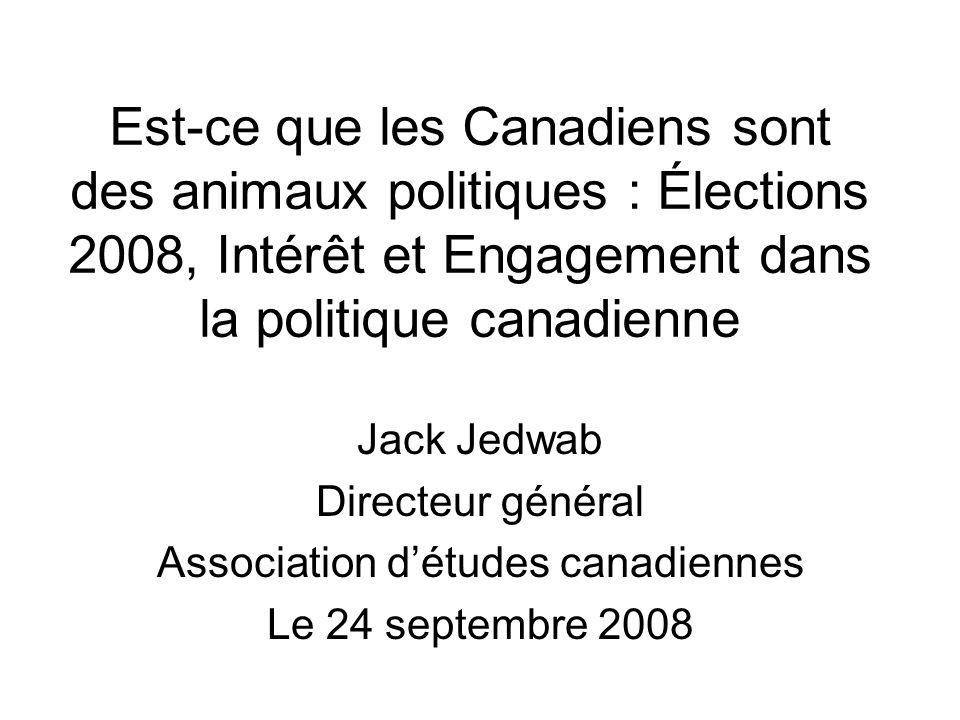 Est-ce que les Canadiens sont des animaux politiques : Élections 2008, Intérêt et Engagement dans la politique canadienne Jack Jedwab Directeur général Association d'études canadiennes Le 24 septembre 2008