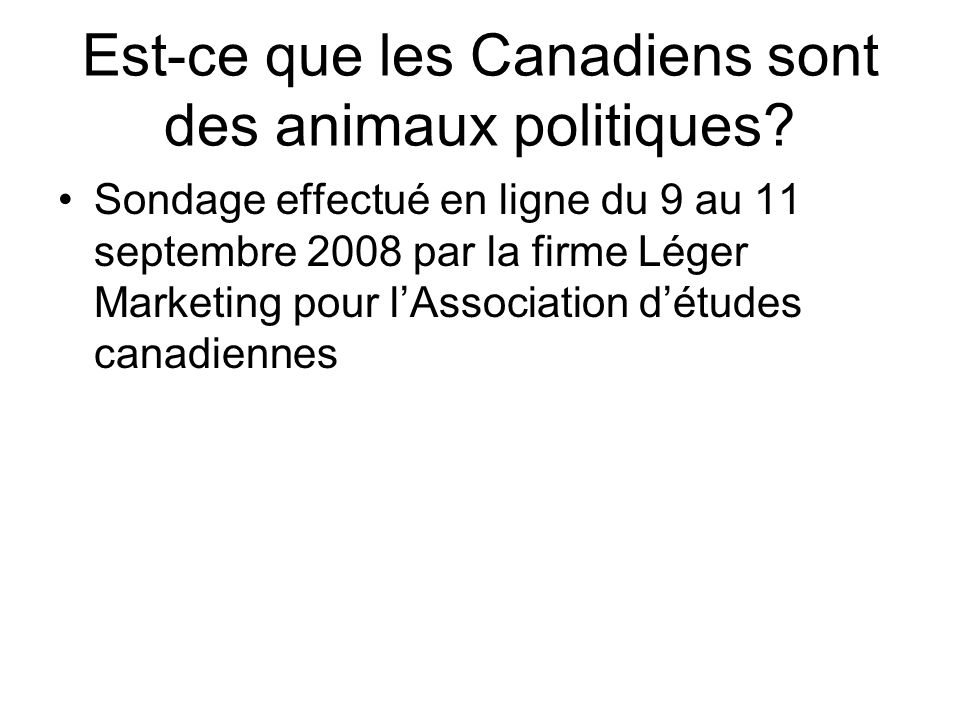 Est-ce que les Canadiens sont des animaux politiques? Sondage effectué en ligne du 9 au 11 septembre 2008 par la firme Léger Marketing pour l'Associat