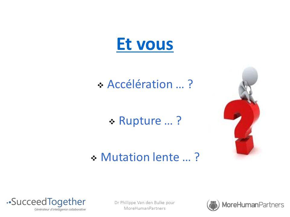 Et vous  Accélération … ?  Rupture … ?  Mutation lente … ? Dr Philippe Van den Bulke pour MoreHumanPartners