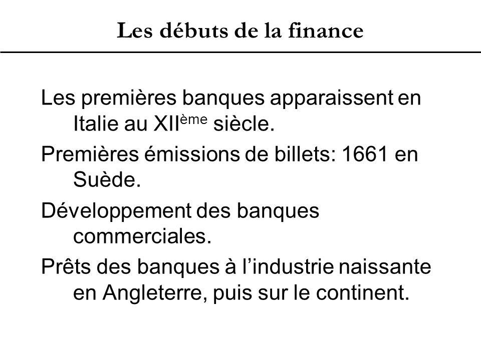 Les débuts de la finance Les premières banques apparaissent en Italie au XII ème siècle.