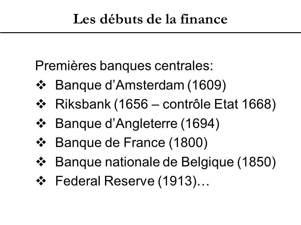 Les débuts de la finance Premières banques centrales:  Banque d'Amsterdam (1609)  Riksbank (1656 – contrôle Etat 1668)  Banque d'Angleterre (1694)  Banque de France (1800)  Banque nationale de Belgique (1850)  Federal Reserve (1913)…