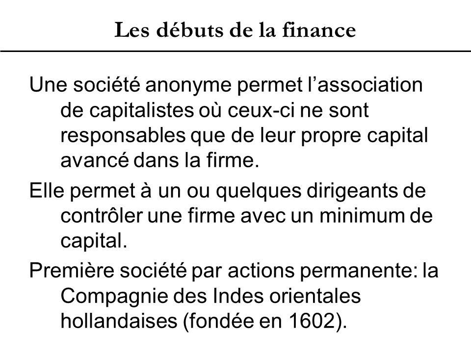 Les débuts de la finance Une société anonyme permet l'association de capitalistes où ceux-ci ne sont responsables que de leur propre capital avancé dans la firme.