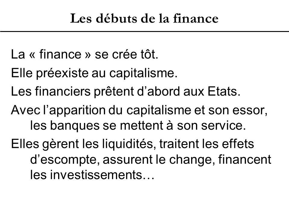 Les débuts de la finance La « finance » se crée tôt.